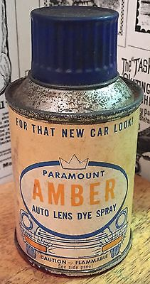 Vintage Paramount Amber Auto Lens Dye Spray Can - Gas Station  & Oil Advertising