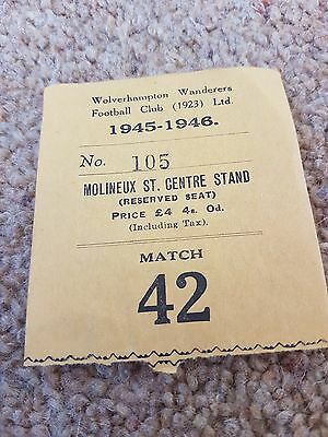 Football Ticket Wolverhampton Wanderers Wolves Very Rare 1945-6 Molineux