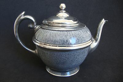 ANTIQUE  teapot GRAY GRANITEWARE & PEWTER FREE SHIPPING WORLDWIDE