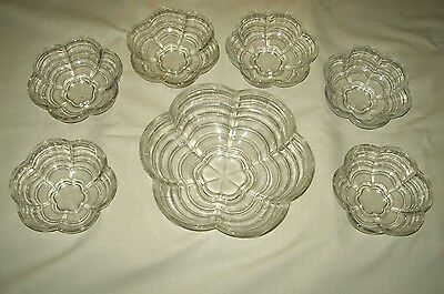 1930s Vintage 7pce Clear Glass Dessert Bowl Set