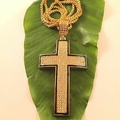 Iced Out Cross Piece Pendant Gold Chain Necklace Hiphop Sq