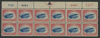 US, C3 Jenny Top Margin Plate Block of 12 VF MH CV $1,680 ***FREE SHIPPING***