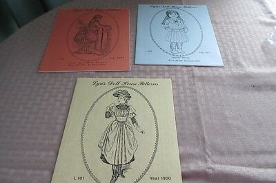 3 Lyn's Doll House Patterns ~  Frock w apron,sailor dress,double sleeve dress