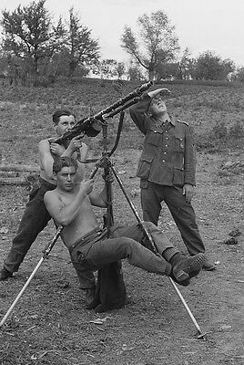 MG-34 tripod antiaircraft German soldiers Wehrmacht photo photograph 4x6