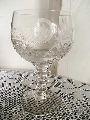 Brierley Rare Crystal Commemorative Wine Goblet ~ Godiva Harriers Founded 1870