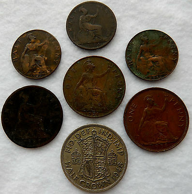"""UK Great Britain Half Penny, Penny and Half Crown Coins """"Lot of 7 Coins"""" SB3915"""