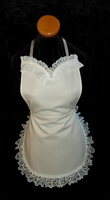 VICTORIAN Style FRENCH MAID FANCY DRESS  APRON in WHITE COTTON * Made in England