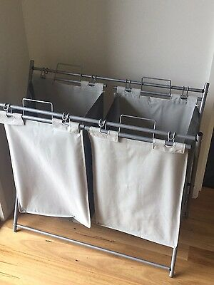 Double Laundry Hamper Detachable With Metal Stand