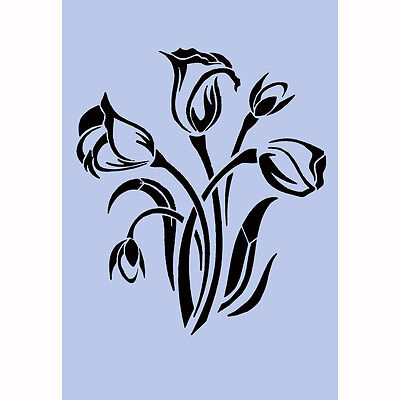 Fleurs Stencil A4 Re-Usable Shabby Chic Airbrush French Wall Craft DIY 042