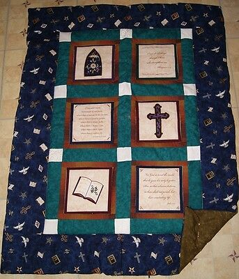 Handmade Church Prayers Baptism Christening Baby Quilt Cotton Blanket Unique NEW