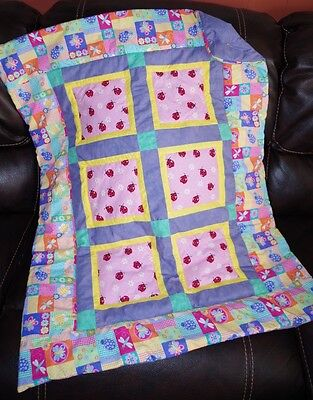 Handmade Patchwork Butterfly Ladybug Flower Baby Quilt Cotton Blanket Unique