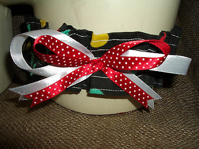 Black cotton garter  with red/green/yellow polka dots,white & red bow! Wedding!
