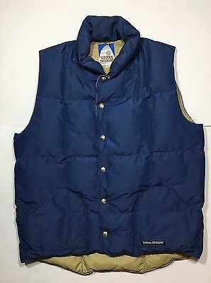 Sierra Designs Vintage Puffer Vest Goose Down USA Made Large Navy Retro 80's