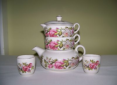 Vtge Old Foley JAMES KENT Ltd. 2 Harmony Rose Stacking Teapot 10 matching pieces