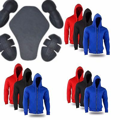 Motorcycle MENS FLEECE HOODIE REMOVABLE CE ARMOUR FOR MOTORBIKE ,S TO 3XL SIZE