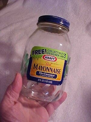 KRAFT MAYONNAISE Glass JAR w Label Mayo  EMBOSSED SPICE LEAVES UNDER LABLES