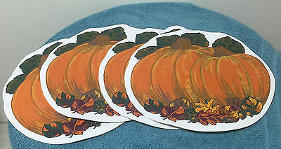 "Vintage Styled by Lisa 4 Pumpkin Harvest Vinyl Placemats Beautiful 15"" x 15 """