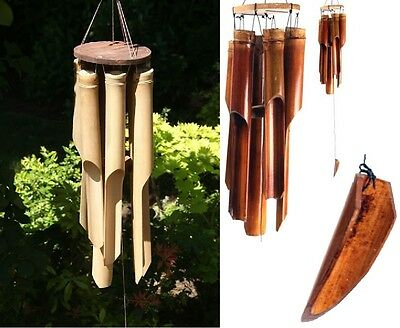 Bamboo Hanging Wind Chime Home Decor Garden Outdoor Gift Ornament Brown Clapper