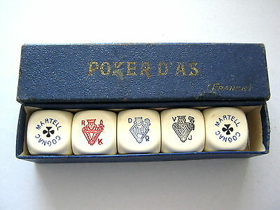 POKER DICE D'AS FRENCH LARGE COGNAC  MARTELL VINTAGE PLAYING CARD SYMBOLS 1950s