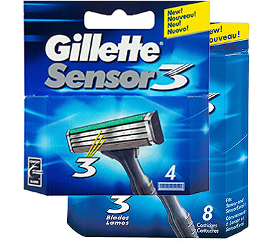 Gillette Sensor 3 Razor Blades - Packs of 4 & 8 Blades - 100% Genuine FREE POST