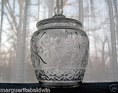 "Anchor Hocking Glass Clear Sandwich 10 1/4"" Canister Biscuit Cookie Jar & Cover"