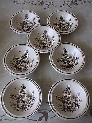 WH Grindley Pinewood Design Underglaze Decoration set of 7 Cereal Bowls