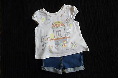 Baby clothes GIRL 0-3m outfit ice-cream/beach white SS t-shirt/blue denim shorts