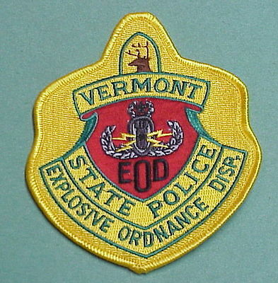 Vermont  Vt  Bomb Disposal  Eod  Explosive Ordance Disp.  State Police  Patch