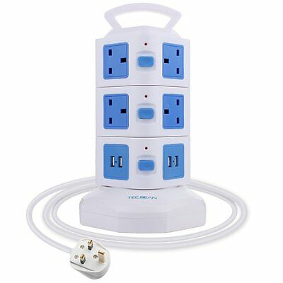 Extension Lead 3M 4 USB 10 Way Outlet - Surge Protector - Tower - AC Plug USB