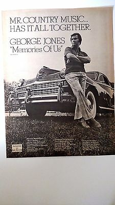 "GEORGE JONES ""Memories Of Us"" Original Promo Poster Ad  1975"