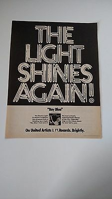 """ELECTRIC LIGHT ORCHESTRA """"The Light Shines Again"""" Original Promo Poster Ad 1975"""
