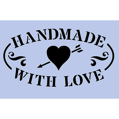 Handmade With Love Stencil 150x105mm Re usable Shabby Chic Airbrush Craft 054