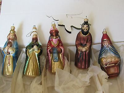 Vintage Lauscha Germany set of 5 Glass Ornaments with Mary and Baby and Joseph