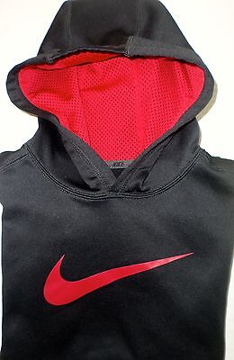 NIKE THERMA-FIT Boys Size M Black/Red Pullover Hooded Sweatshirt NEW