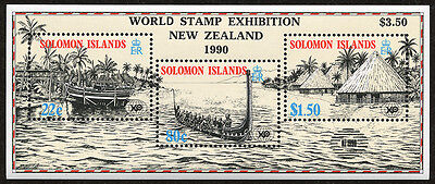 Solomon Islands Expo 1988 S/S with 1990 NZ Surcharge & Overprint Sc # 613b