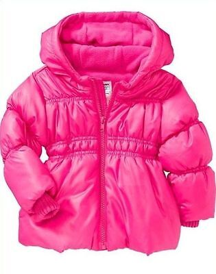 NWT Old Navy Girls Size 5T Pink Frost-Free Hooded Jacket NEW