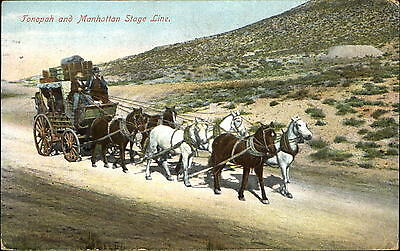 Tonopah and Manhattan Stage Line ~ stagecoach ~ mailed 1917 Goldfield NV
