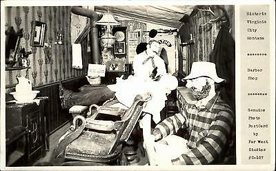 Virginia City Montana MT ~ Barber Shop ~ Far West Studios RPPC real photo