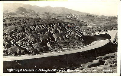 Highway between Ducktown and Copperhill Tennessee TN ~ RPPC real photo 1956
