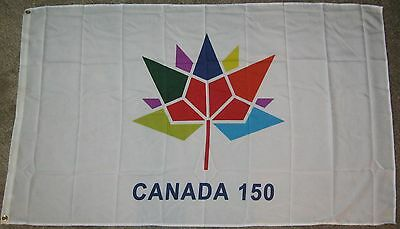 New 3' by 5' Canada 150th Anniv. Flag. White Background.Free Shipping in Canada!