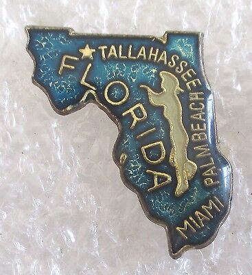 Vintage State of Florida Map Travel Souvenir Collector Pin