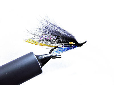 3 x silver stoats tail double, blue variant sea trout and salmon fly