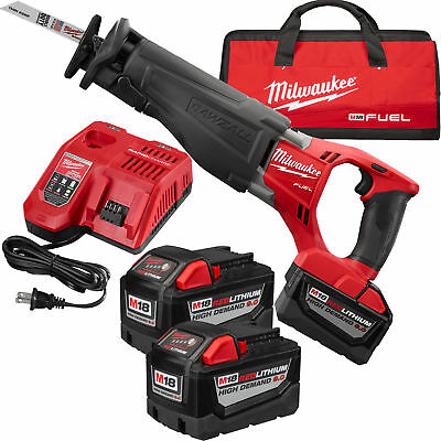 M18 Fuel Sawzall Reciprocationg Saw Kit 3x 9.0 Batts Milwaukee 2720-22HD New