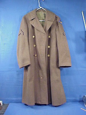 WWII US Army Air Corp / Air Force Men's Wool Long Field Coat 36R  WW2