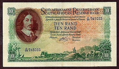 """S Africa """"Rissick Sig."""" (1962-65) A/E 10-Rand {SINGLE} XF/XF+ Note: P107b [d06]"""