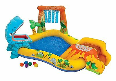 Piscina hinchable tobogan Dino niños juguete piscine enfants kids swimmingpool