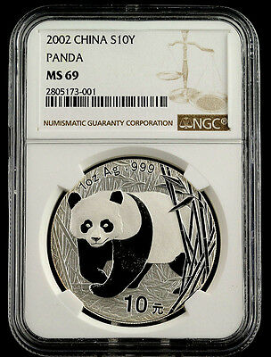 2002 MS 69 China Panda 1oz 10 Yuan Silver Coin NGC