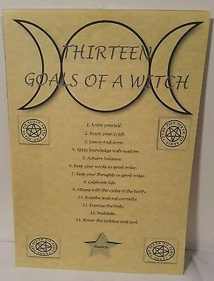 """Pagan Poster """"13 GOALS OF A WITCH"""" Book Of Shadows Parchment Paper Wicca Spells"""