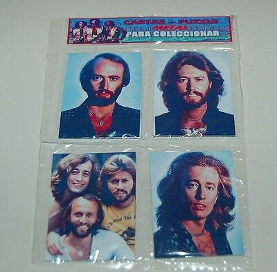 BEE GEES Gibb SET 4 METAL CARD w/PUZZLE SEALED PACK COLLECTIBLE ARGENTINA