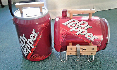 "NEVER USED Dr. Pepper Grill &16"" Dr. Pepper Metal Cooler Wood Handle & Hinge Top"